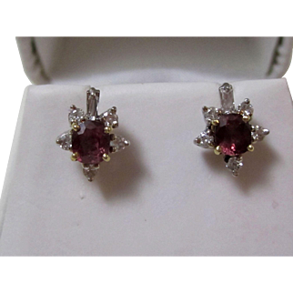 Vintage Estate Ruby & Diamond Wedding Day Birthstone Earrings 14K Gold