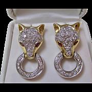 Diamond & Natural Ruby Dangle Estate Earrings 14K Gold