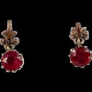Art Deco Estate Natural Ruby Dangle Earrings 14K