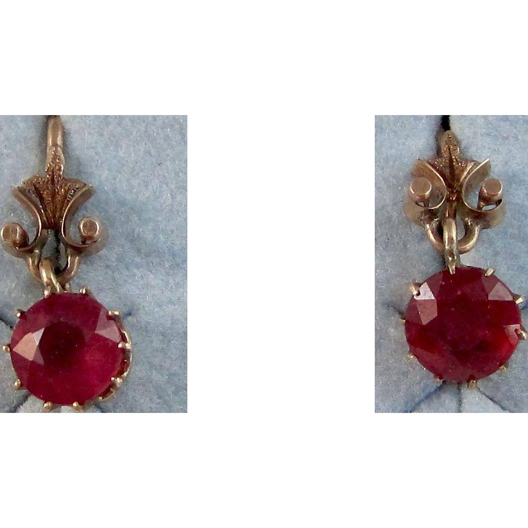 Vintage Estate Art Deco Natural Ruby Dangle Earrings 14K
