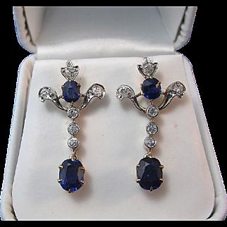 Art Deco Vintage 1920's No Heat Sapphire Diamond Earrings 18K