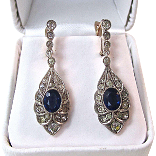 Vintage Estate 1930's Created Sapphire Dangle Wedding Birthstone Earrings
