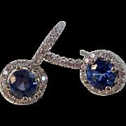 Natural Sapphire & Diamond Wedding, Anniversary, Birthstone Estate Earrings 14K