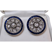 Art Deco Natural Sapphire & Diamond Wedding Day Birthstone Earrings 18K