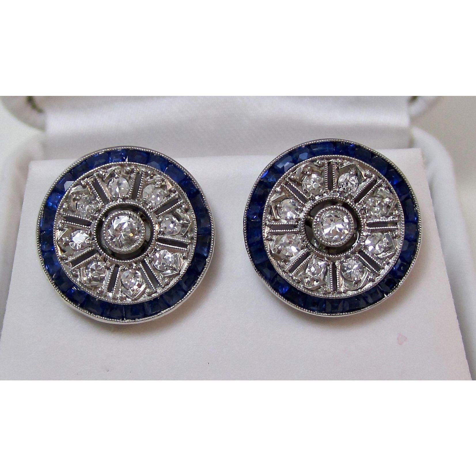 Art Deco Natural Sapphire & Diamond Wedding Day Birthstone Earrings 18K