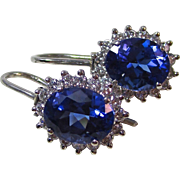 Vintage Estate Tanzanite & Diamond Earrings Platinum