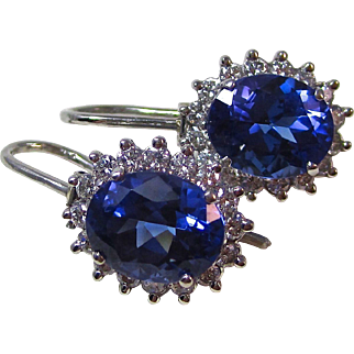 Natural Tanzanite & Diamond Estate Wedding Birthstone Anniversary Earrings Platinum