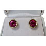 Vintage Estate Natural Pink Tourmaline Wedding Birthstone Earrings 14K Yellow Gold