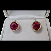 Natural Pink Tourmaline Wedding Birthstone Estate Earrings 14K Yellow Gold