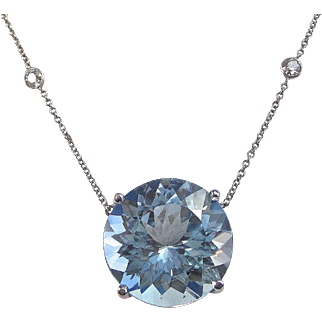 Vintage Estate 1980's 30 Carat Blue Topaz Diamond Necklace 14K