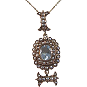 Antique Victorian 1890's Aquamarine Seed Pearl English Wedding Day Birthstone Anniversary Pendant