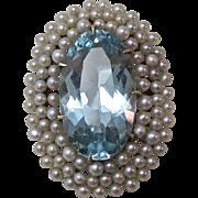 Fabulous Natural Aquamarine & Cultured Pearl Art Deco Pendant 14K