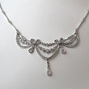 Sparkling Diamond Vintage Estate Necklace 18K