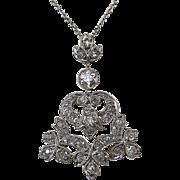 Diamond Lavaliere Estate Wedding Day Birthstone Necklace Platinum 14K
