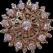 Antique Victorian 1890's Old Mine Cut Diamond Wedding Birthstone Anniversary Brooch/Pendant 14K Yellow Gold