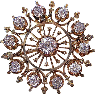 Glorious 1.55 Diamond Victorian Wedding Brooch/Pendant 14K