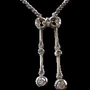 Art Deco 1920's Lavaliere Wedding Day Birthstone  Necklace 14K