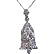 Vintage Art Deco 1930's Diamond Lavaliere Wedding Birthstone Anniversary Necklace Platinum