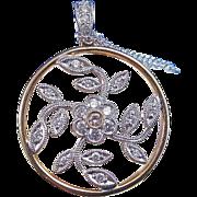 Natural Fancy Pink Diamond Floral Estate Wedding Birthstone Necklace 18K