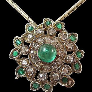 Sophisticated Royal Emerald Diamond Vintage Pendant-Pin 18K