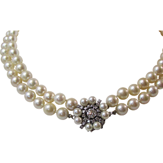 Vintage Estate 1950's Double Strand Cultured Pearl & Diamond Clasp Wedding Necklace 14K