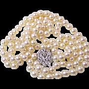 Vintage Estate 1950's Akoya Wedding Cultured Pearl & Diamond Necklace 14K
