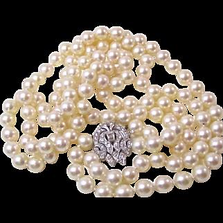 Astonishing Akoya Cultured Pearl & Diamond Wedding Necklace 14K