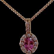 Estate Pink Sapphire & Diamond Wedding Birthstone Anniversary Necklace 14K Rose Gold