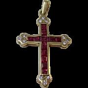 Vintage Estate Ruby & Diamond Cross Pendant
