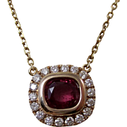 Estate Natural Red Ruby & Diamond Halo Pendant Necklace 18K