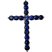 Vintage Estate Natural Sapphire Cross Pendant 18K
