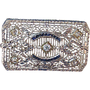 Exquisite Art Deco Sapphire, Diamond Brooch Platinum