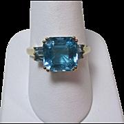 Vintage Estate Emerald Cut Engagement Birthstone Blue Topaz Aquamarine Baguettes 14K