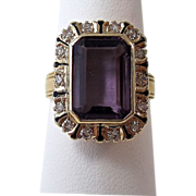 Vintage Estate 1940's Amethyst & Diamond Birthstone Ring 14K Yellow Gold