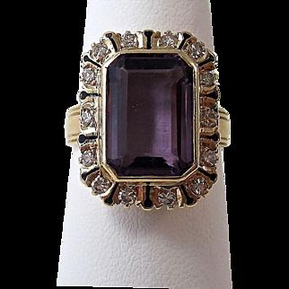 Vintage Estate 1940's Amethyst & Diamond Birthstone Ring 14K