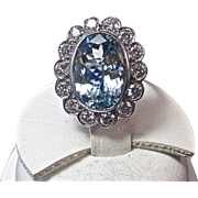 Vintage Estate 1950's  Aquamarine  Diamond Engagement Wedding Birthstone Anniversary Halo Ring Platinum