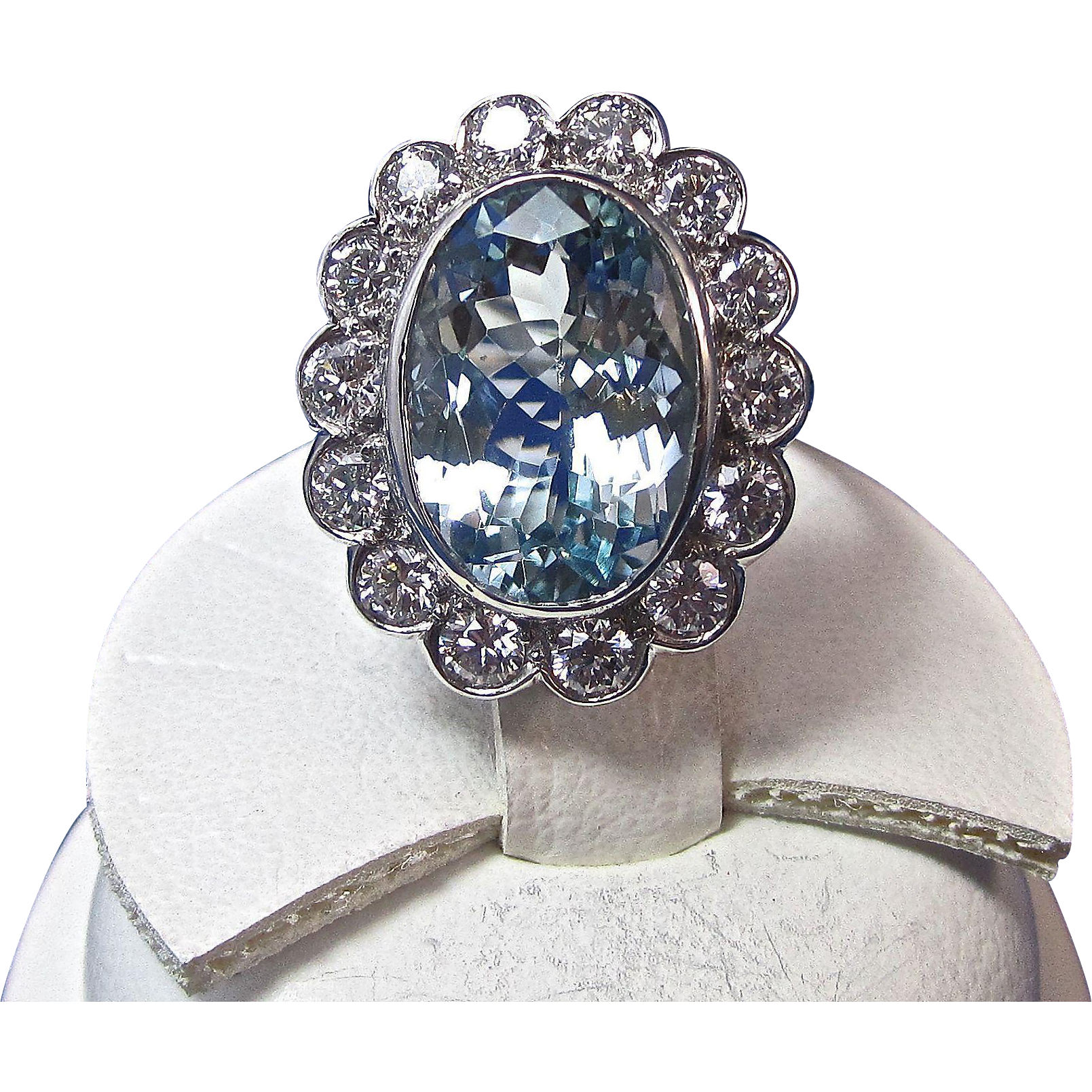 Vintage Estate 1950's Aquamarine Diamond Engagement Wedding Birthstone  Anniversary Halo Ring Platinum