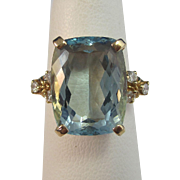 Vintage Estate 1940's 8.34 Aquamarine Diamond Birthstone Engagement Anniversary Ring 14K Yellow Gold