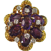 Vintage Estate 1930's Amethyst Diamond Birthstone Anniversary Ring 18K Yellow Gold
