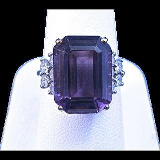 Vintage Estate 1960's Amethyst & Diamond Engagement Wedding Birthstone Ring