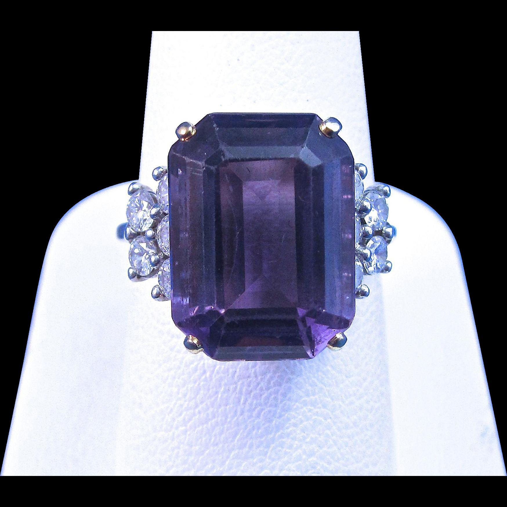 Vintage Estate 1960's Amethyst & Diamond Engagement Wedding Birthstone Anniversary Ring 18K White Yellow Gold