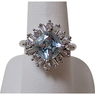 Vintage Estate Aquamarine & Diamond Engagement Birthstone Anniversary Ring 18K