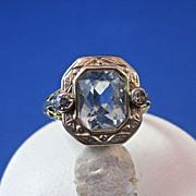 Art Deco Vintage 1920's Birthstone Aquamarine Diamond Ring 14K