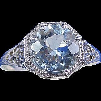 Antique Edwardian 1910 Aquamarine Engagement Birthstone Ring 14K