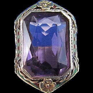 Huge 14.60 Art Deco Natural Amethyst Vintage Ring 14K