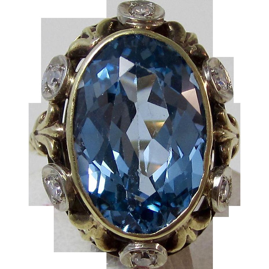 Art Deco Blue Topaz Diamond Estate Engagement Birthstone Anniversary Ring 14K