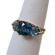 Vintage Estate 3.61 Carat Blue Topaz Birthstone Ring