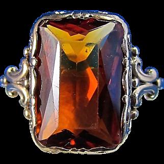 Unusual 5.51 Genuine Madeira Citrine English Vintage Ring