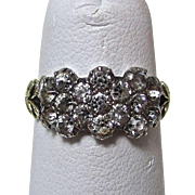 Antique Georgian 9K Gold, Silver, Paste  Cluster Ring