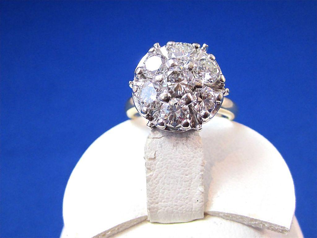 Dynamite Diamond Cluster Vintage CocktailEngagement Ring 14K